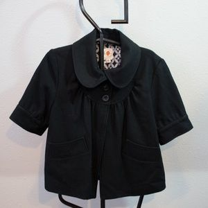 Tulle Black Wool Short Sleeve Pea Coat Size XL